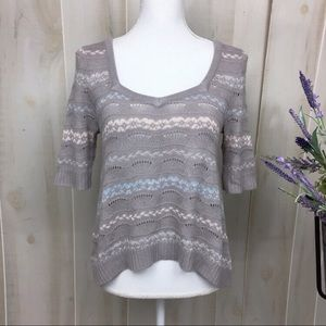 Free People Grey Striped Babydoll Sweater